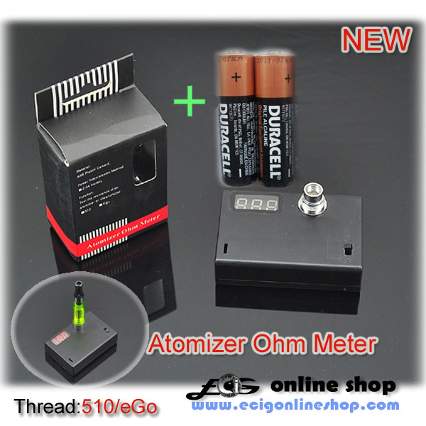 atomizer ohm meter with two batteries for testing resistance